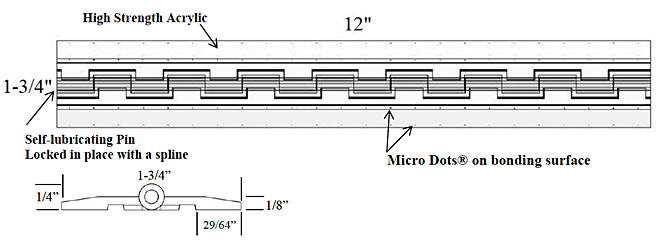 Acryl Piano Hinge dimensions